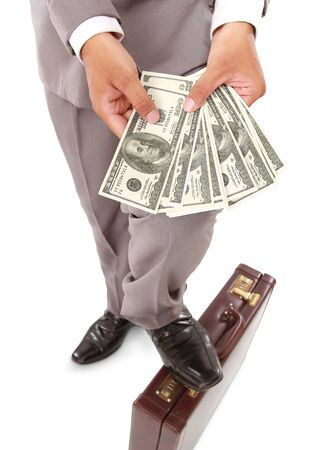 showed: employer showed a lot of money in his hands, isolated on white background