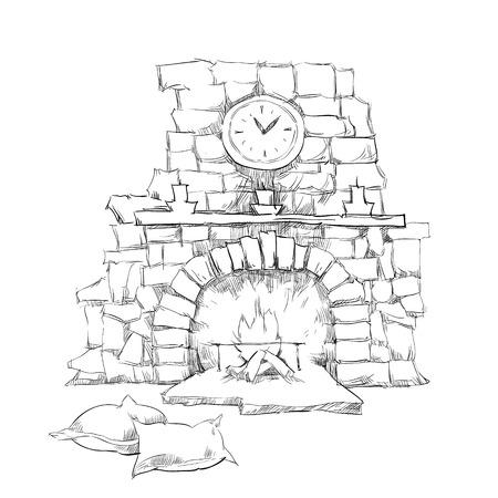Cozy inerior sketch elements
