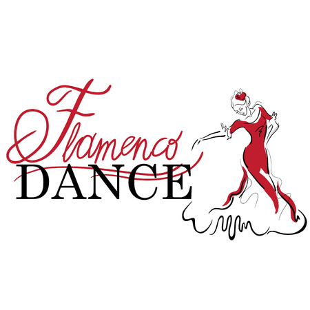 flamenco dress: Flamenco dance elements. Dancer figure sketch. Flamenco Dance inscription.