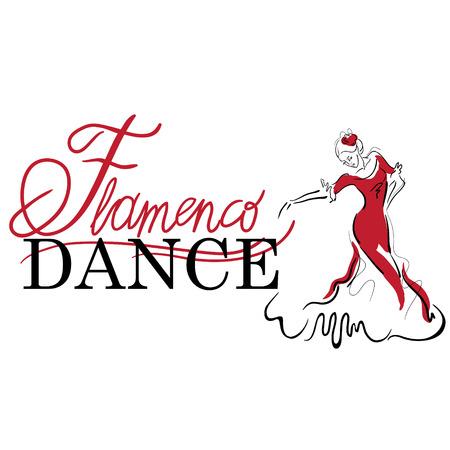 Flamenco dance elements. Dancer figure sketch. Flamenco Dance inscription.