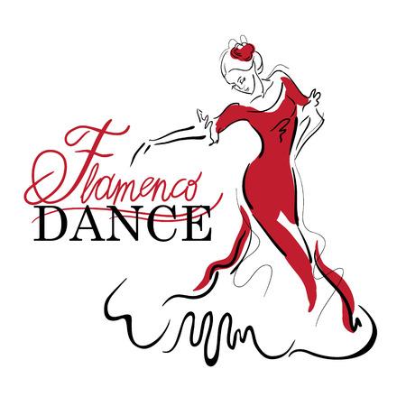 Elementos de baile flamenco. Bosquejo figura del bailarín. Inscripción Baile Flamenco.