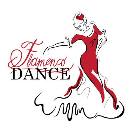 girl in red dress: Flamenco dance elements. Dancer figure sketch. Flamenco Dance inscription.