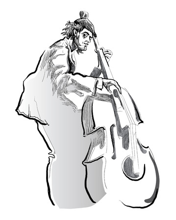 bassist: Musicians of jazz Vector sketches.