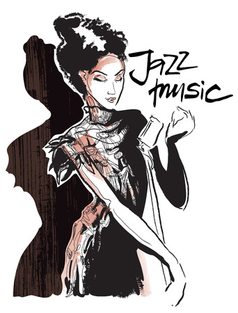 Musicans of jazz. Vector sketches.  Sketch of musicans. Vector lineart. Editable in several layers.