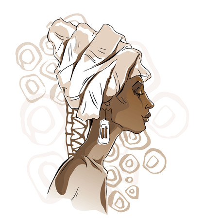 african woman face: Vector sketch of African woman.