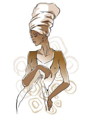 african woman face: sketch of African woman Editable layers.