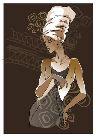 sketch of African woman Editable layers.