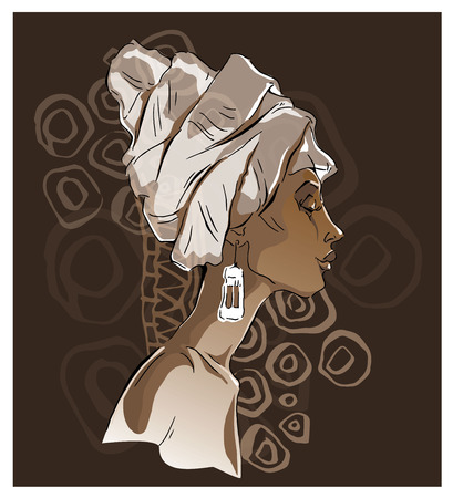 etnic: Vector sketch of afican woman. Editable layers. Illustration