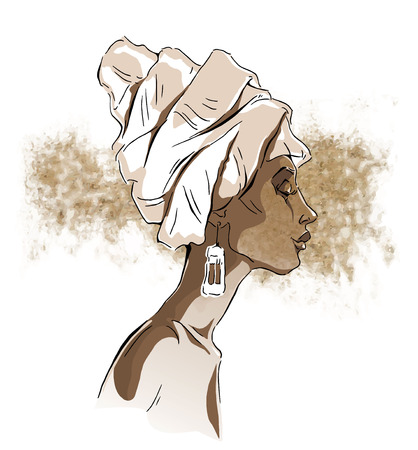 etno: Vector sketch of afican woman. Editable layers. Illustration