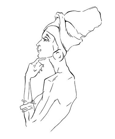 black american: Vector sketch of afican woman. Editable layers. Illustration