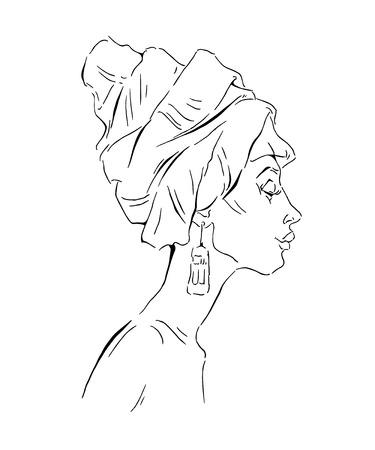 etno: Vector sketch of afican woman. Editable layers. Illustration