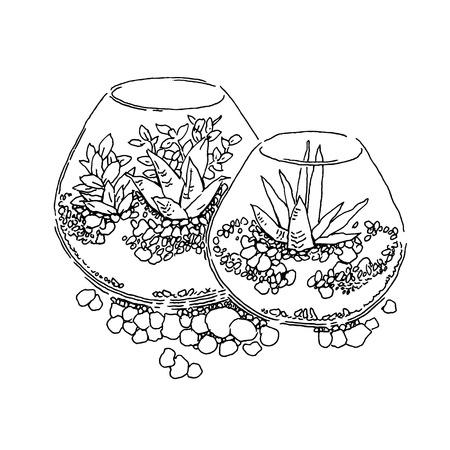 floriculture: Garden design elements vector sketch. Editable layers.
