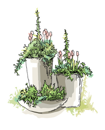 Garden design elements vector sketch. Editable layers.