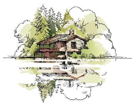 Vector schets van bomen en planten. Bewerkbare lagen. Stock Illustratie