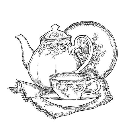 grabado antiguo: Hecho a mano esbozo de juegos de té. Ilustración vectorial en estilo vintage. Vectores