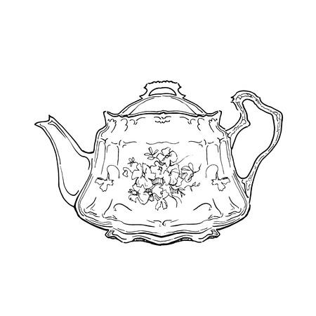 手作りのお茶セットのスケッチします。ビンテージ スタイルのベクター イラストです。  イラスト・ベクター素材