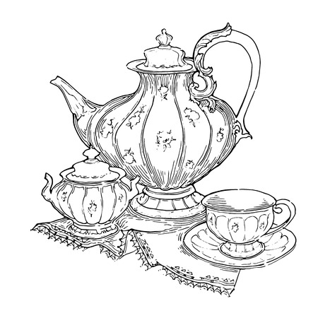 Hand made sketch of tea sets. Vector illustration made in vintage style.