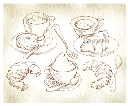 Hand made sketch of coffee and bakery. Vector illustration. Illustration