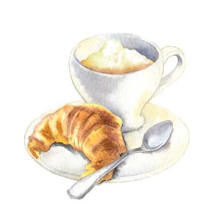 Hand made sketch of coffee and bakery. Vector illustration. 矢量图像