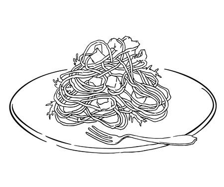 Vector schets van spaghetti plaat. Italiaans eten gelijkspel. Geïsoleerd op wit.