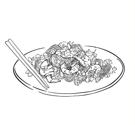Vector sketch of spaghetti plate. Italian food draw. Isolated on white.
