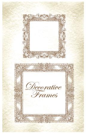 antique frames: Hand made sketch of ornate frames. Vector illustration.