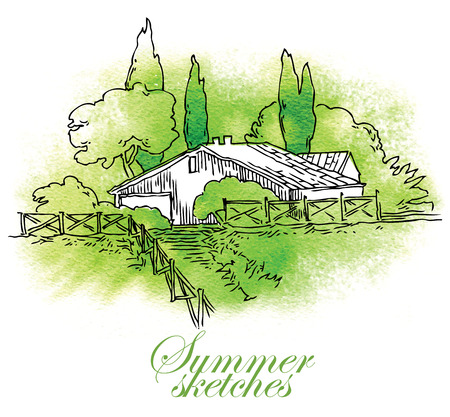 mediterranean homes: Watercolor sketch of houses and trees. Vector illustration. Illustration