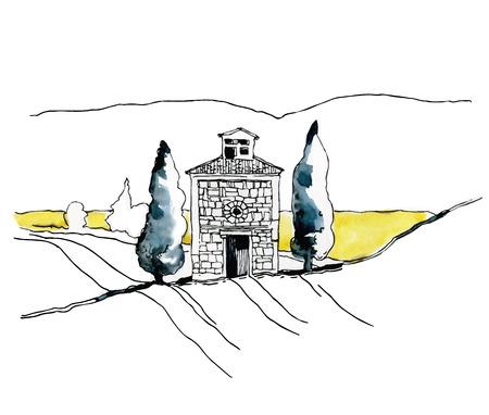 家や木の水彩スケッチ。ベクトルの図。
