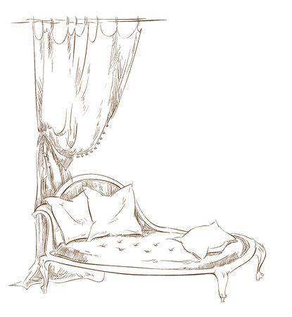 letti: Sketch di furinture fatto in stile vintage.