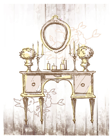front of house: Sketch of furinture made in vintage style. Illustration