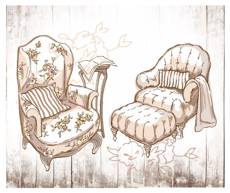 Sketch of furinture made in vintage style. Illustration