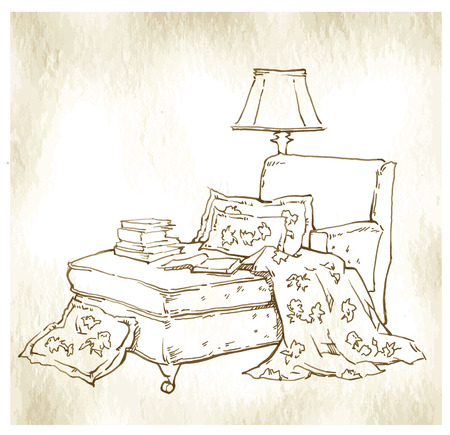boudoir: Sketch of furinture made in vintage style. Illustration