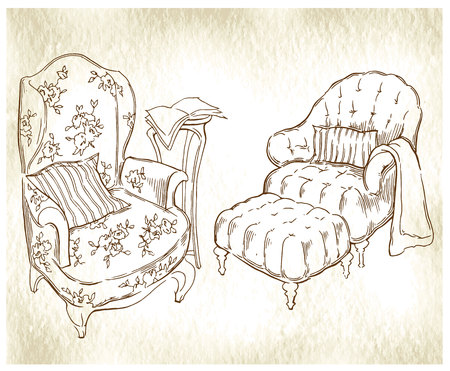 divan: Sketch of furinture made in vintage style. Illustration