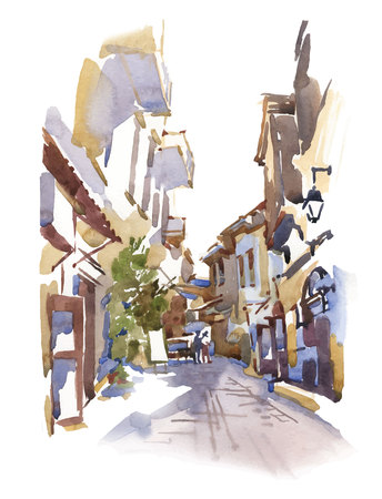 western wall: Sketch of old street. Vector illustration made in vintage style. Illustration