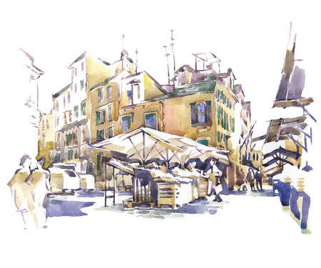 Sketch of old street. Vector illustration made in vintage style. Stock Illustratie