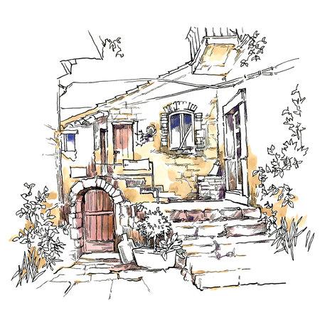 old town: Sketch of old street. Vector illustration made in vintage style. Illustration