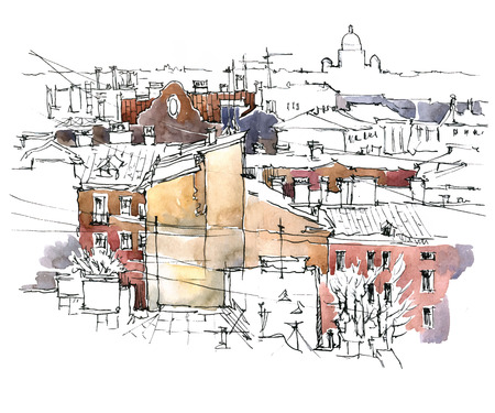 city street: Sketch of old street. Vector illustration made in vintage style. Illustration