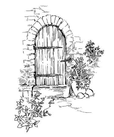 old door: Sketch of old street. Vector illustration made in vintage style. Illustration