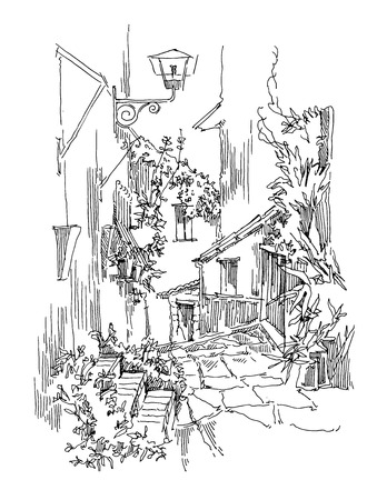 front of house: Sketch of old street. Vector illustration made in vintage style. Illustration