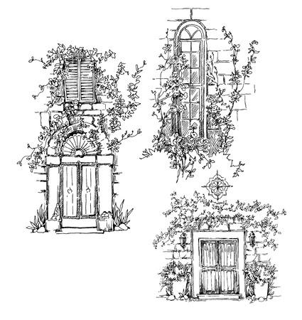 puertas antiguas: Bosquejo de la antigua calle. Ilustración vectorial en estilo vintage.