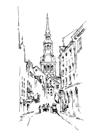 italy street: Sketch of old street. Vector illustration made in vintage style. Illustration