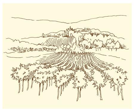 옛 거리의 스케치입니다. 빈티지 스타일에서 만든 벡터 일러스트 레이 션.