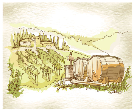 viticulture: Sketch of old street. Vector illustration made in vintage style. Illustration