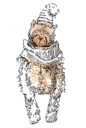 vintage teddy bears: Hand made sketch of old toys. Vector illustration.