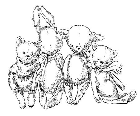 juguetes antiguos: Hecho a mano esbozo de juguetes antiguos. Ilustraci�n del vector.