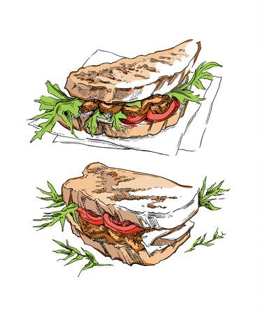 comida rapida: Bosquejo de s�ndwich hecho en el estilo vintage. Ilustraci�n del vector.
