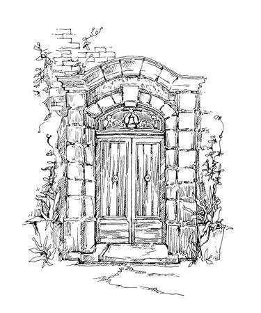 Sketch of old street. Vector illustration made in vintage style. Ilustração