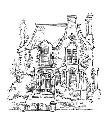Sketch of old street. Vector illustration made in vintage style. 矢量图像