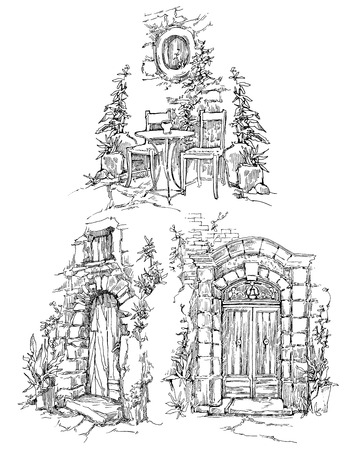gothic design: Sketch of old street. Vector illustration made in vintage style. Illustration