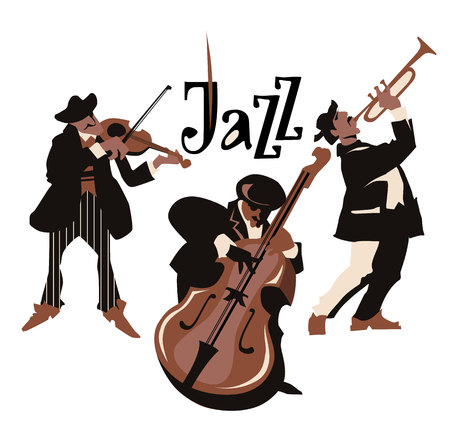 contrabass: Musicans figures. Use for jazz festival poster, jass club, live music cafe and web design. Isolated flat vectors. Easy editable elements. Isolated on white background. Trumpet, violin, contrabass.